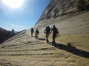 Photo: Returning to camp across the slickrock