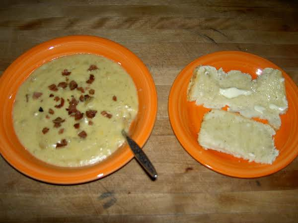 I Made This Creamy And Cheesy Bacon Potato Soup Today For Lunch..so Delicious With My Homemade Italian Herb Bread! (june 2012)