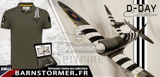 spitfire avion warbird barnstormer polo shirt kaki made in france