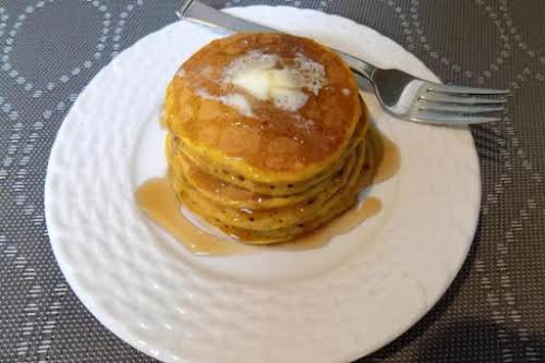 "Spiced Pumpkin Pancakes ""Just made these for breakfast this morning and got..."