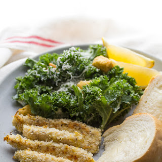 Kale Caesar Salad with Lemon Parmesan Chicken Strips.