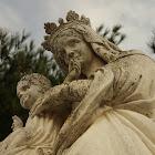 Vierge a l'enfant monumentale en pierre ND du Puy Bollène collégiale Saint Martin