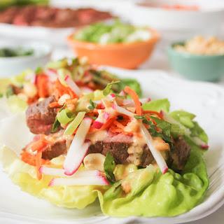 Lettuce Wraps with Five Spice Flank Steak and Peanut Sauce Recipe