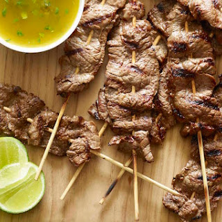 Beef Skewers with Cilantro Dipping Sauce Recipe