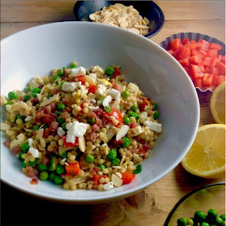 Spring Salad of Israeli Couscous, Peas, Pancetta, and Lemon