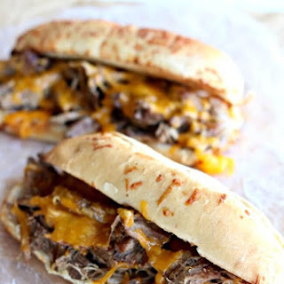 Slow Cooker Beef and Cheddar Sandwiches.
