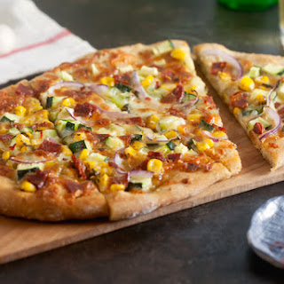 Chorizo Pizza with Corn and Zucchini.