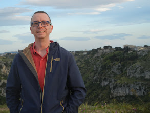 Photo: Chris, on the cliff opposite Matera