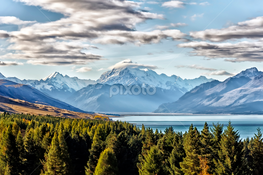 Aoraki Mount Cook National Park by Phattana Sangsawang - Landscapes Mountains & Hills ( shore, spectacular, mountain, range, peak, valley, landscape, panorama, height, southern, sky, nature, snow, cloudy, mountaineering, ecology, lakeside, rocks, alps, water, clouds, cook, grass, green, majestic, beautiful, snowy, lake, tourism, forest, highlands, destination, glacier, landmark, new, turquoise, summer, view, scenery )