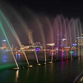 Marina Bay by Mulawardi Sutanto - City,  Street & Park  Fountains ( fountain, travel, light, singapore, marina bay )