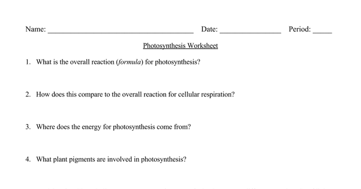 Photosynthesis Worksheet Google Docs – Photosynthesis Cellular Respiration Worksheet