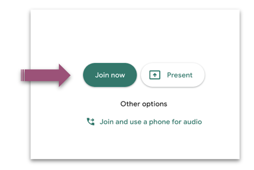 A purple arrow points to the green Join now button.