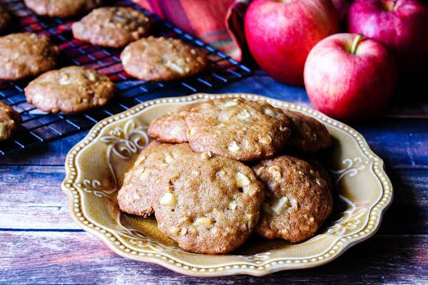 A Plate Of Apple Butter Oatmeal Cookies.