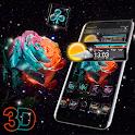 Rose Galaxy 3D Glass Tech Theme 🌹 icon