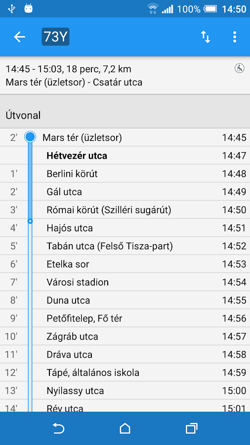 Szeged Public Transit- screenshot