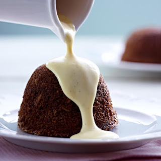 Chocolate Almond Steamed Puddings with Warm Vanilla Bean Custard