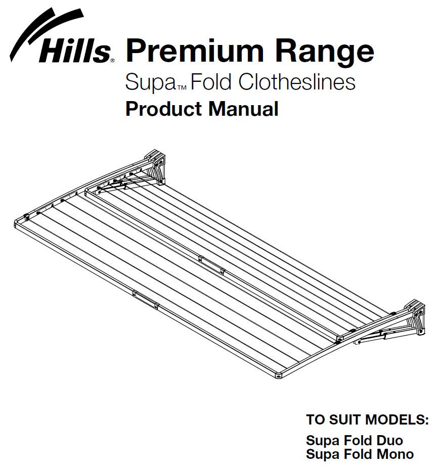 Hills Supa Fold Mono Clothesline Owners Manual FD45602