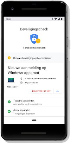 Scherm voor de Beveiligingscheck van je Google-account op een mobiele telefoon