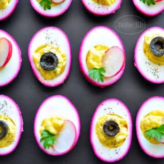 Pickled Beet Deviled Eggs.