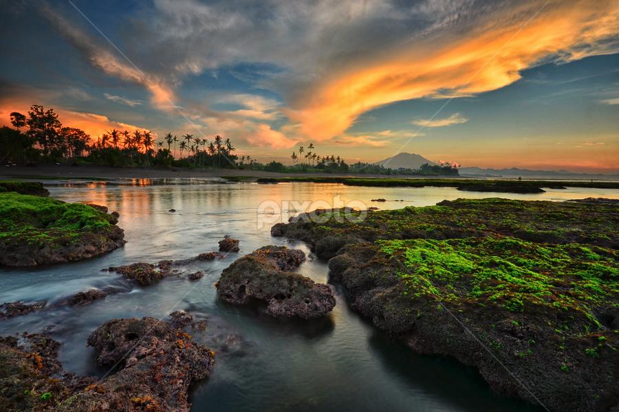 Neon Rocks by Hendri Suhandi - Landscapes Waterscapes ( clouds, bali, sunset, beach, sunrise, landscape, stones, rocks )