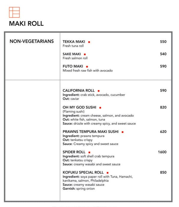 Kofuku menu 8