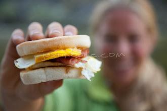 Photo: River guide showing off her breakfast sandwich.