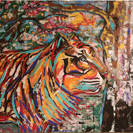 Tiger by Jeff Jeudy - Painting All Painting ( tiger )