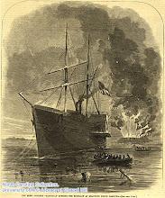 "Photo: ""The rebel steamer 'Nashville' running the blockade at Beaufort, North Carolina."" Harper's weekly, April 5, 1862, p. 209."