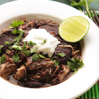 Quick and Easy Pressure Cooker Chicken and Black Bean Stew.