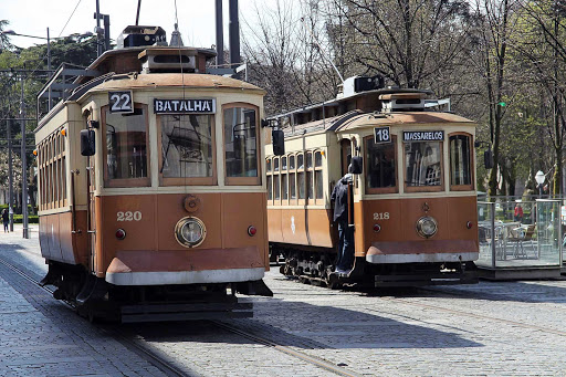 Portugal-Porto-tram - The trams in Porto, Portugal, run along the shores of the Douro River.