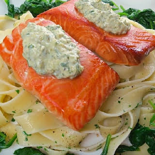 Oven Baked Salmon Fillets with Hot Tartare Sauce.