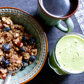 Breakfast Quinoa with Blueberries, Cranberries, and Almonds.