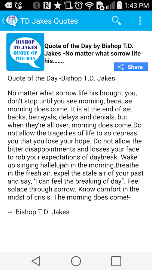 Td Jakes Quotes On Love Extraordinary Td Jakes Quotes Of The Day  Android Apps On Google Play
