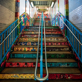 Pilsen CTA Station Stairs by John Williams - City,  Street & Park  Neighborhoods ( public art, street art, train, city neighborhood, public transportation )