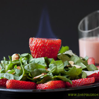 Spinach and Flaming Strawberry Sangria Salad