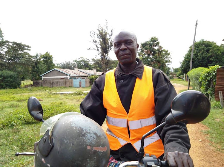 Teso boda boda rider Donald Omai, 49. He wants to meet President Uhuru kenyatta after he carried him during his first presidential campaigns in 2002
