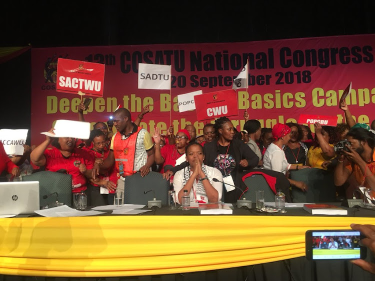 Singing, crying ... women besides themselves with joy at the election of Zingiswa Losi as Africa's first female trade union president following her election to the Cosatu post. Picture: THETO MAHLAKOANA
