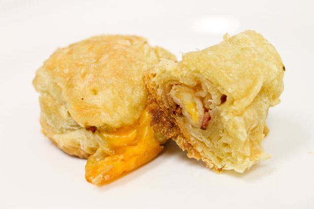 Photo: Bacon-Wrapped String Cheese Puffs: http://www.thedailymeal.com/dress-your-food-bacon-and-bacon-fat-slideshow