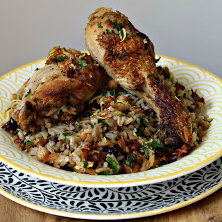 Spiced Chicken with Chickpea & Cranberry Pilaf