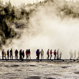 Crowd at Biscuit Basin by Richard Michael Lingo - City,  Street & Park  Street Scenes ( street scene, water, wyoming, park, yellowstone )