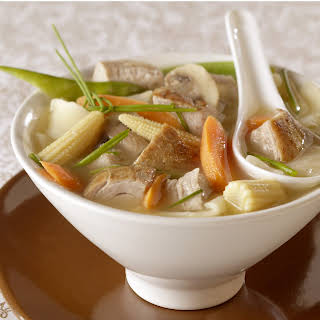 Gingered Pork-Vegetable Soup with Wonton Noodles.