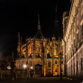 Night in Kutna Hora 5 by Jiří Valíček - City,  Street & Park  Historic Districts ( jesuit college, cathedral, sts. barbara,  )