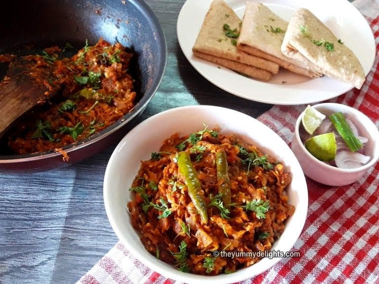 Baingan bharta is made with mashed eggplant. The eggplant is roasted on an open flame and then mixed with cooked onion and tomato paste and seasoned with spices. The smoky flavor of mashed eggplant makes this simple dish extraordinary.