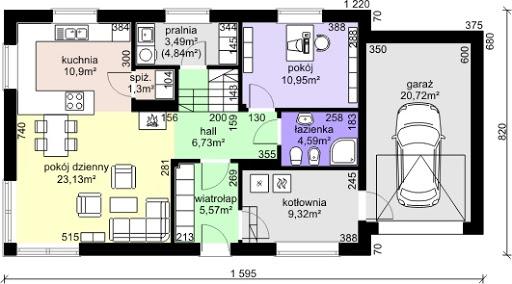 Dom przy Alabastrowej 5 - Rzut parteru