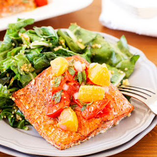 Spicy Salmon with Roasted Tomatoes & Pixie Salsa