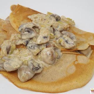 Creamy Mushroom and Leek Crepes.
