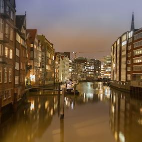 Hamburg old city by Oleksii Liebiediev - City,  Street & Park  Historic Districts ( city life, historic district, night, germany, canal, hamburg )