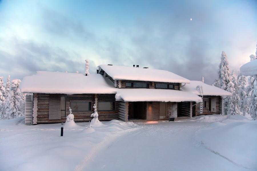 Cottage in Finland by Alex Garaev - City,  Street & Park  Vistas ( cabin, winter, sunset, cottage, finland )