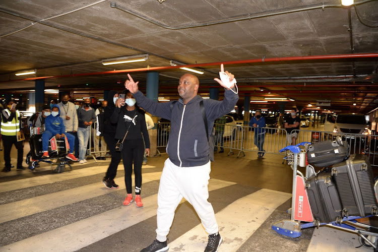 Pitso Mosimane was emotional after hundreds of Mamelodi Sundowns supporters turned up at the OR Tambo to send him off.