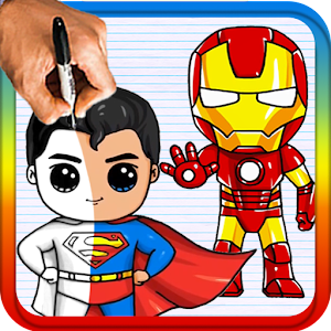 How to draw chibi super hero